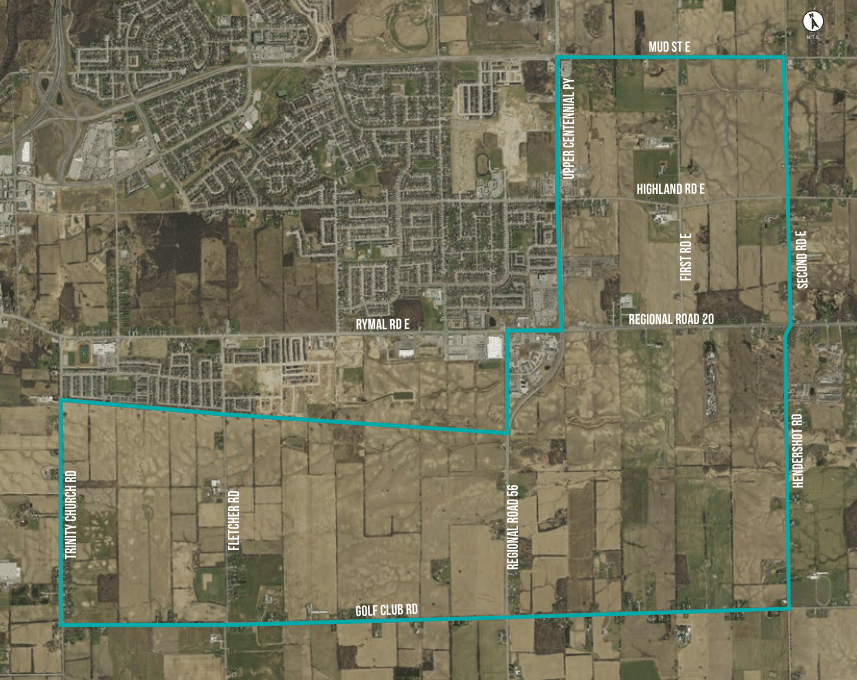Map of the prime agricultural land that the City of Hamilton is proposing be developed to facilitate urban sprawl - from Appendix C to City of Hamilton Planning report PED18182