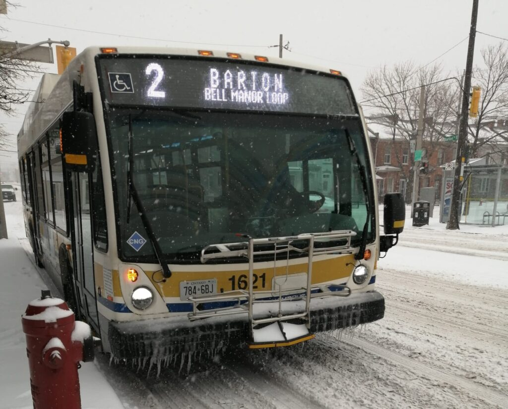 The 2 Barton bus running down Barton Street just before the COVID-19 pandemic in January 2020 - photo by Cameron Kroetsch